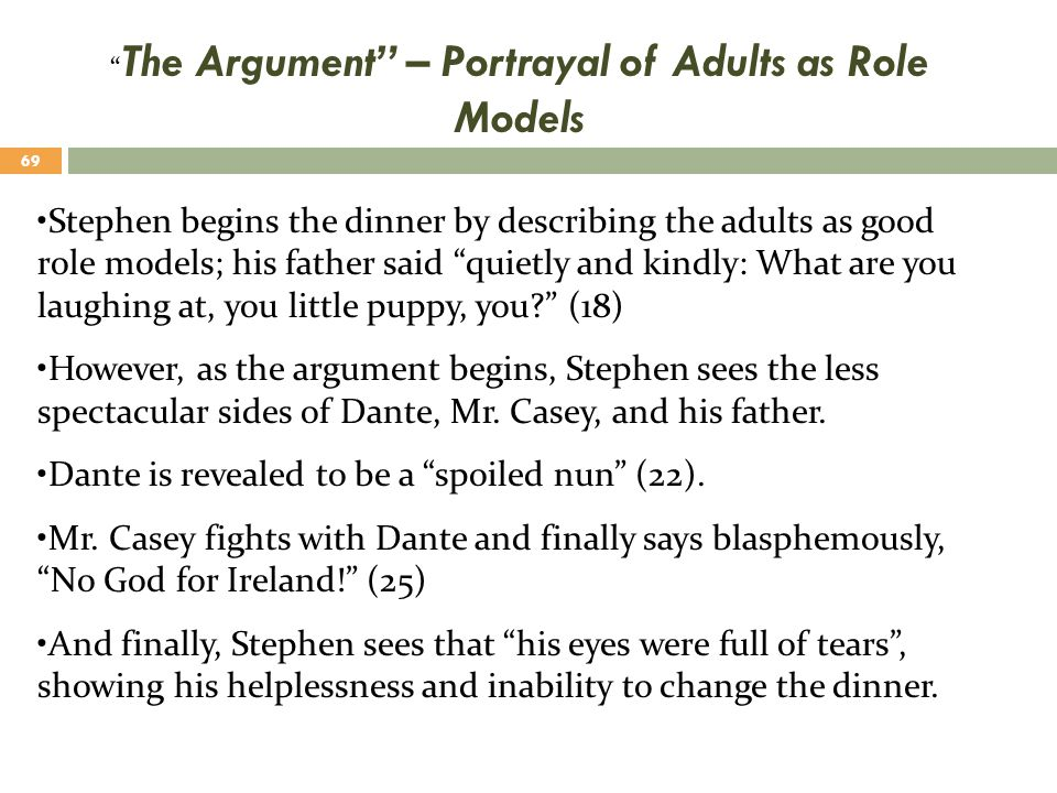 """"""" The Argument"""" – Portrayal of Adults as Role Models Stephen begins the dinner by describing the adults as good role models; his father said """"quietly"""