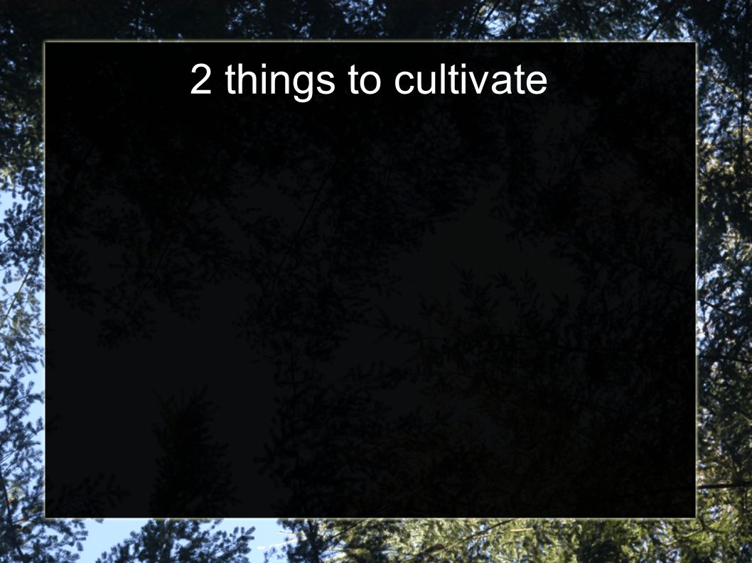 2 things to cultivate