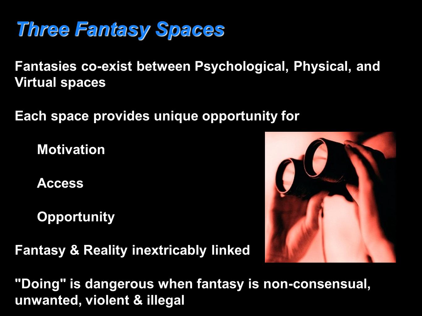 Three Fantasy Spaces Fantasies co-exist between Psychological, Physical, and Virtual spaces Each space provides unique opportunity for Motivation Acce