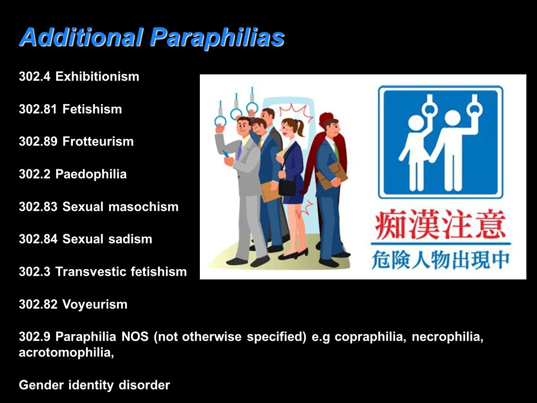 Additional Paraphilias 302.4 Exhibitionism 302.81 Fetishism 302.89 Frotteurism 302.2 Paedophilia 302.83 Sexual masochism 302.84 Sexual sadism 302.3 Tr