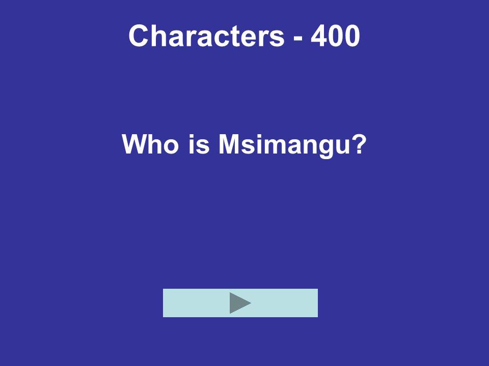 Characters - 400 Who is Msimangu?
