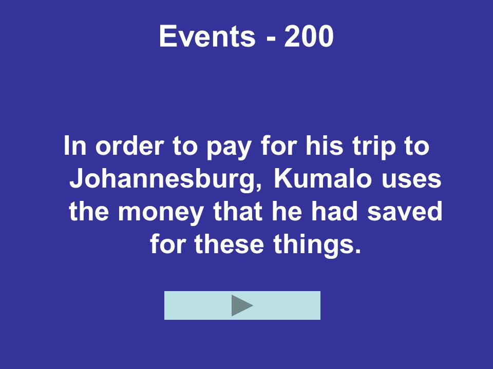 Events - 200 In order to pay for his trip to Johannesburg, Kumalo uses the money that he had saved for these things.