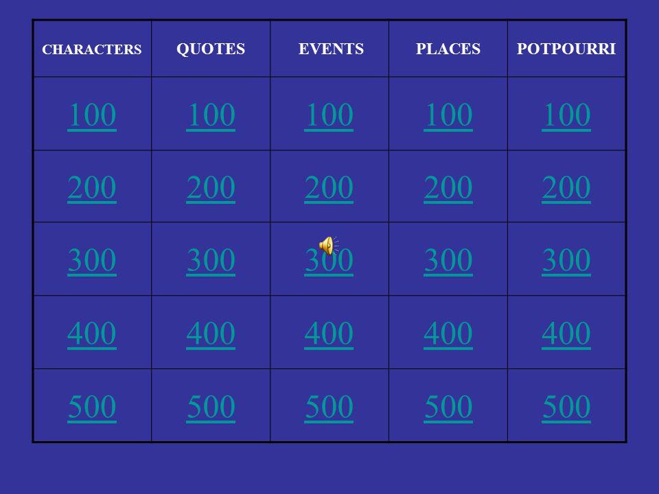 CHARACTERS QUOTES EVENTSPLACESPOTPOURRI 100 200 300 400 500