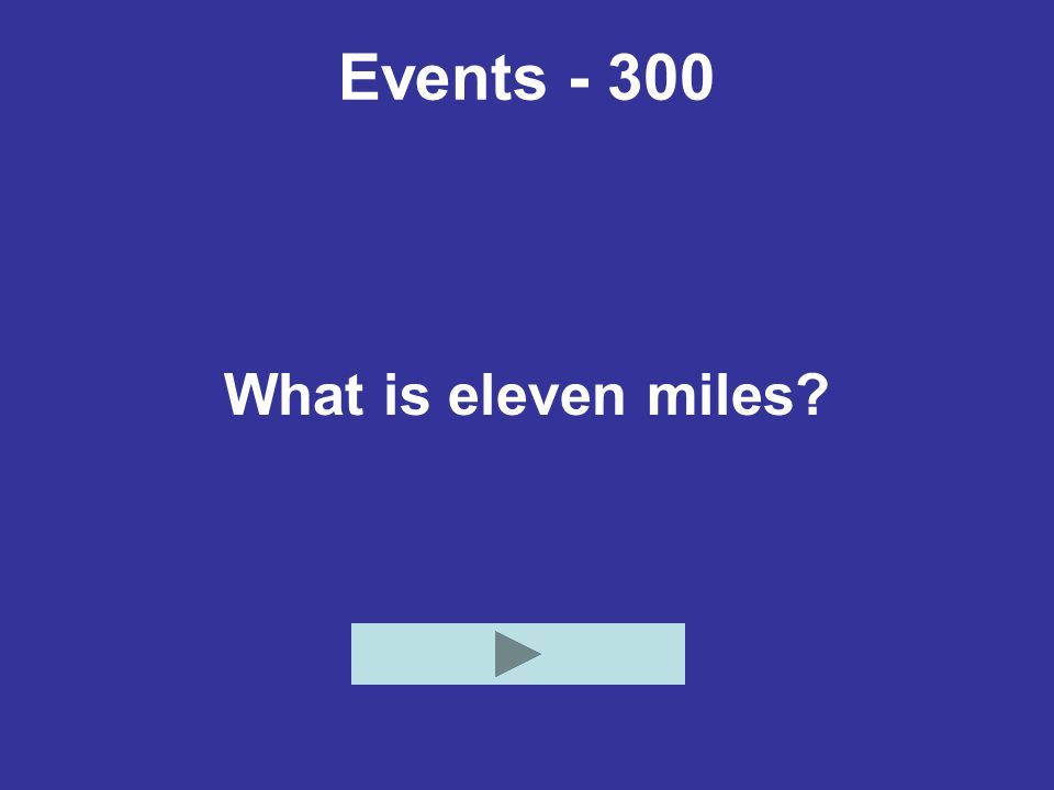 Events - 300 What is eleven miles?