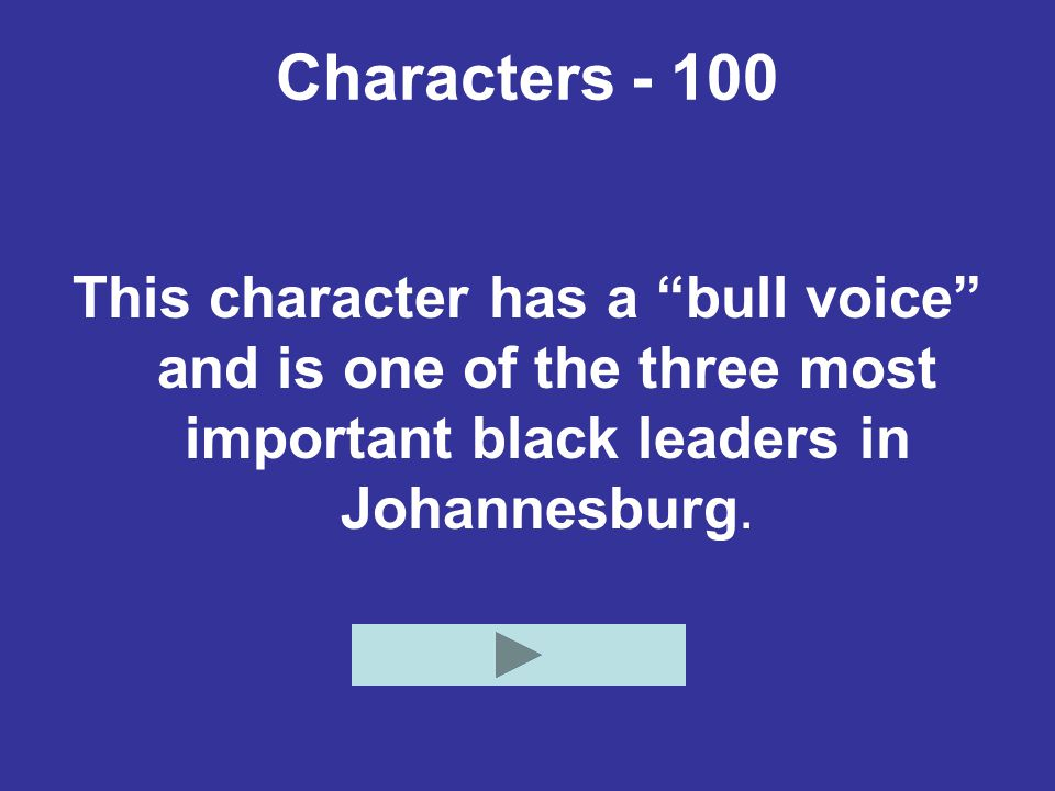 """Characters - 100 This character has a """"bull voice"""" and is one of the three most important black leaders in Johannesburg."""