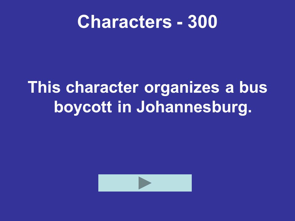 Characters - 300 This character organizes a bus boycott in Johannesburg.