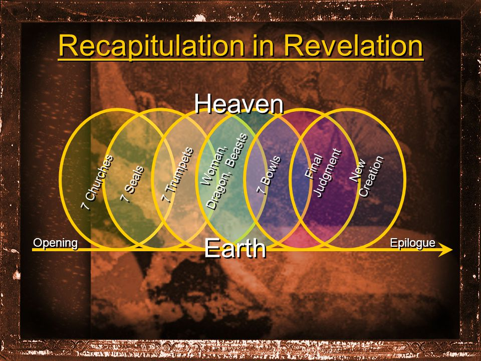 Recapitulation in Revelation Heaven Earth Epilogue Opening 7 Churches 7 Seals 7 Trumpets Woman, Dragon, Beasts 7 Bowls Final Judgment New Creation