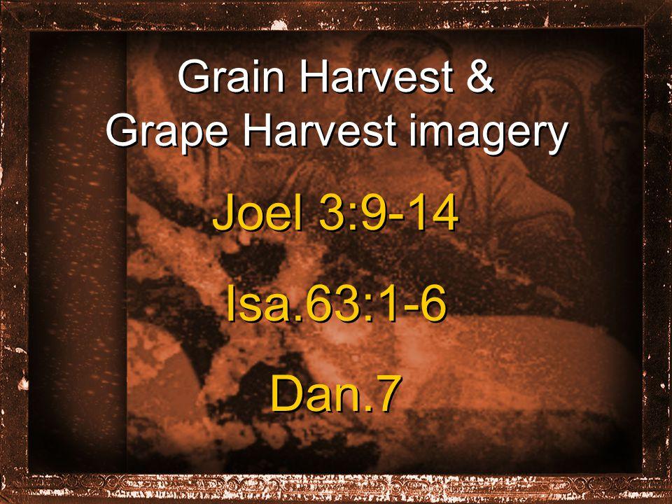 Grain Harvest & Grape Harvest imagery Joel 3:9-14 Isa.63:1-6 Dan.7 Joel 3:9-14 Isa.63:1-6 Dan.7