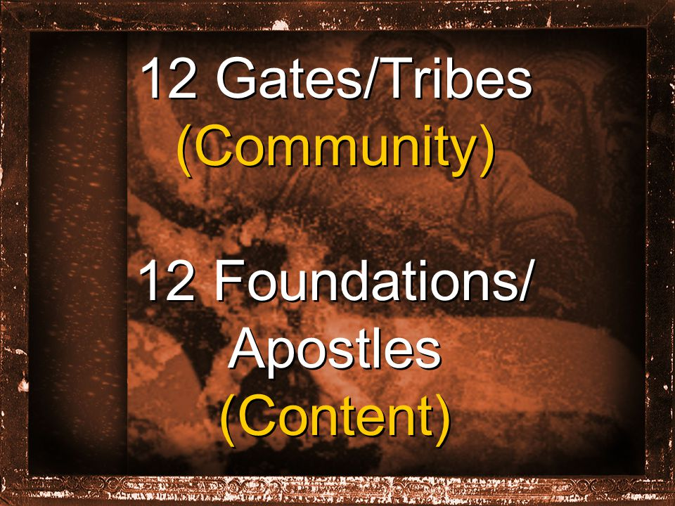 12 Gates/Tribes (Community) 12 Foundations/ Apostles (Content) 12 Gates/Tribes (Community) 12 Foundations/ Apostles (Content)