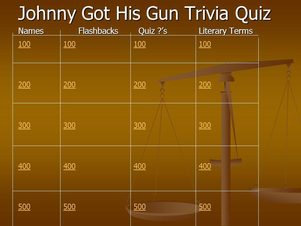 Johnny Got His Gun Trivia Quiz NamesFlashbacksQuiz ?'sLiterary Terms 100 200 300 400 500 100 200 300 400 500 100 200 300 400 500 100 200 300 400 500