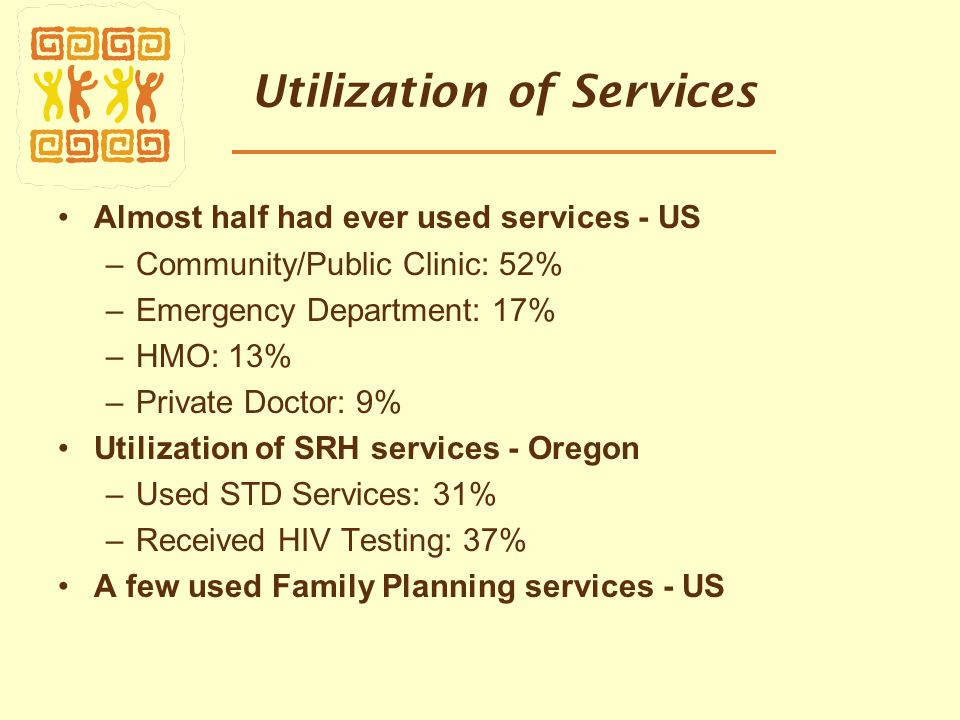 Utilization of Services Almost half had ever used services - US –Community/Public Clinic: 52% –Emergency Department: 17% –HMO: 13% –Private Doctor: 9% Utilization of SRH services - Oregon –Used STD Services: 31% –Received HIV Testing: 37% A few used Family Planning services - US