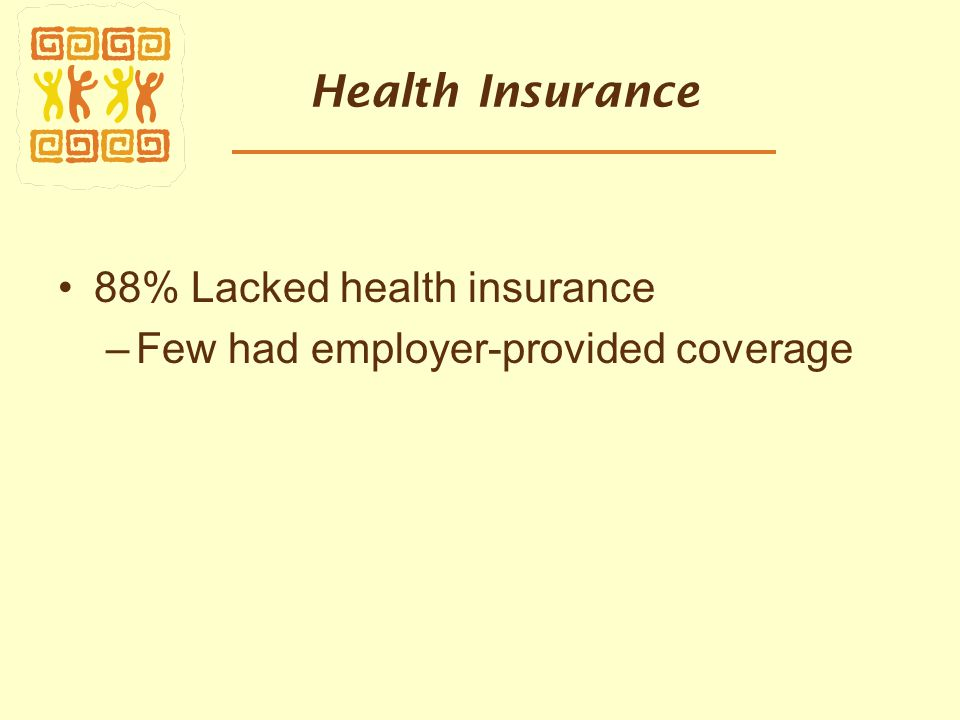 Health Insurance 88% Lacked health insurance –Few had employer-provided coverage