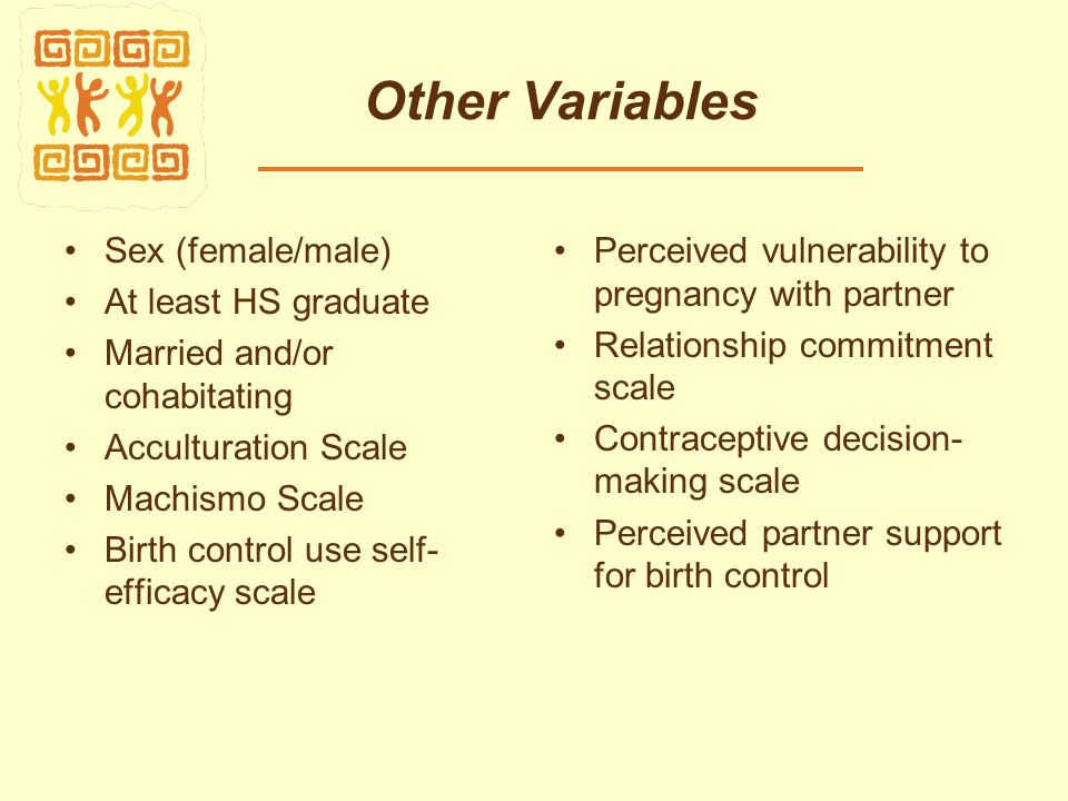 Other Variables Sex (female/male) At least HS graduate Married and/or cohabitating Acculturation Scale Machismo Scale Birth control use self- efficacy scale Perceived vulnerability to pregnancy with partner Relationship commitment scale Contraceptive decision- making scale Perceived partner support for birth control