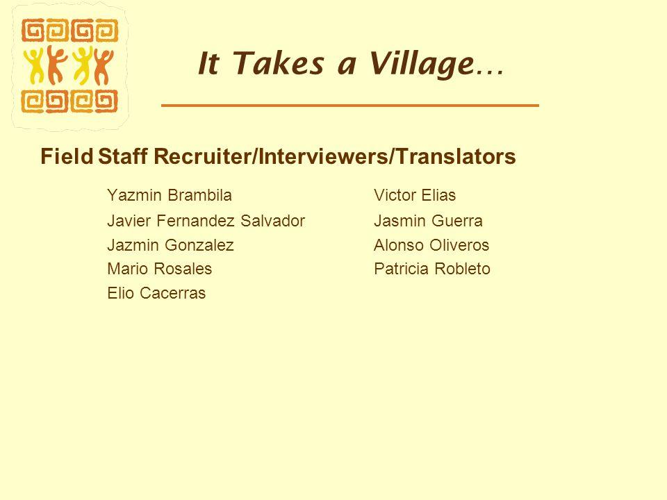 It Takes a Village… Field Staff Recruiter/Interviewers/Translators Yazmin Brambila Victor Elias Javier Fernandez Salvador Jasmin Guerra Jazmin Gonzale