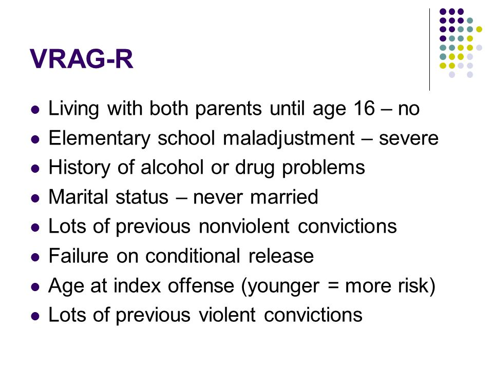 VRAG-R Living with both parents until age 16 – no Elementary school maladjustment – severe History of alcohol or drug problems Marital status – never