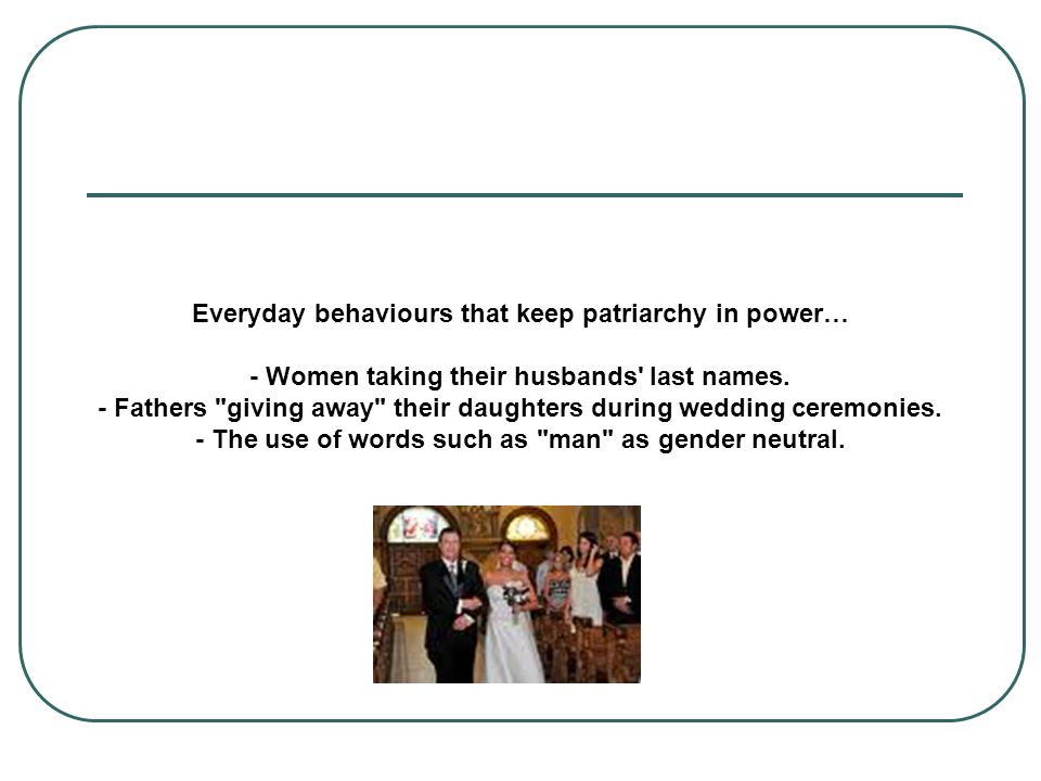 Everyday behaviours that keep patriarchy in power… - Women taking their husbands last names.