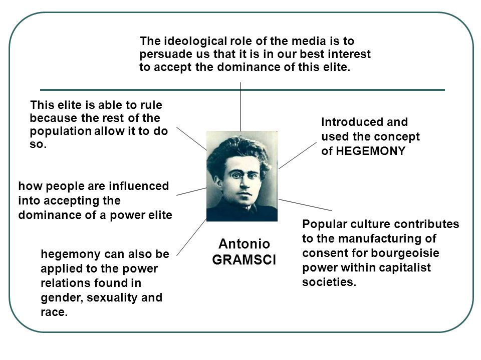 Antonio GRAMSCI Introduced and used the concept of HEGEMONY Popular culture contributes to the manufacturing of consent for bourgeoisie power within capitalist societies.
