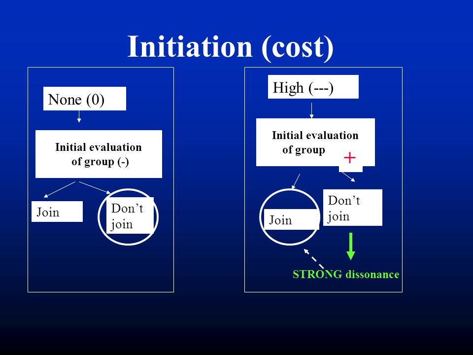 Initiation (cost) None (0) High (---) Initial evaluation of group (-) Join Don't join Initial evaluation of group (-) Join Don't join STRONG dissonanc