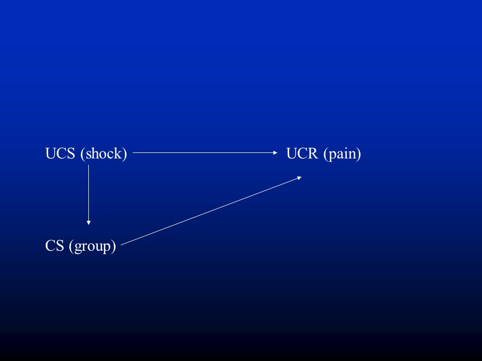 UCS (shock)UCR (pain) CS (group)