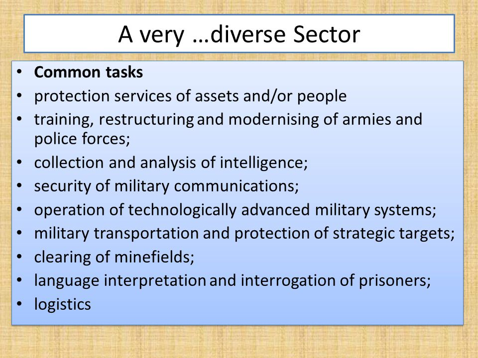 Typology of Private Military and Security Companies