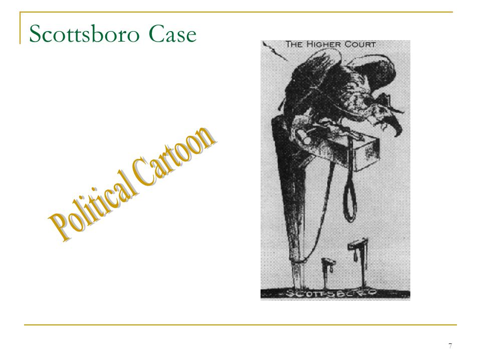 6 Scottsboro Case A Lynching Spirit OOfficials maintain a peaceful crowd AArmed soldiers on guard inside and outside the courtroom AAn estimated