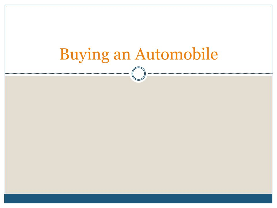 Buying an Automobile