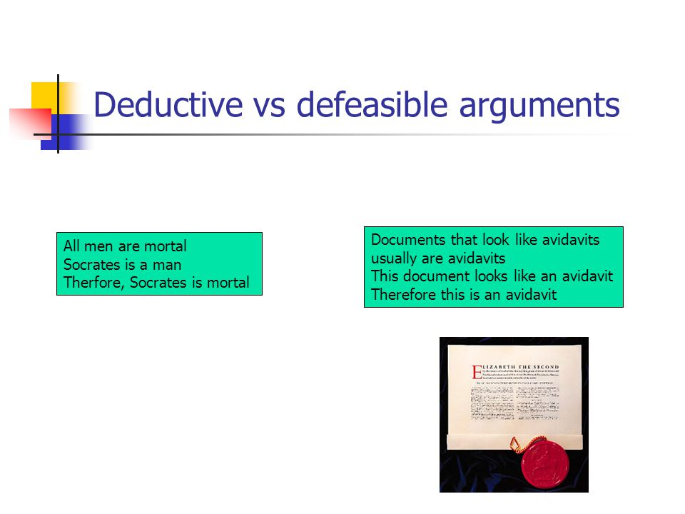 Deductive vs defeasible arguments All men are mortal Socrates is a man Therfore, Socrates is mortal Documents that look like avidavits usually are avi