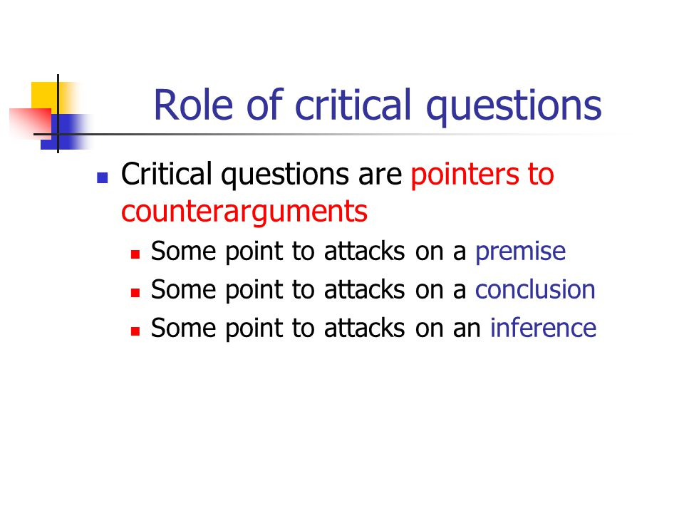 Role of critical questions Critical questions are pointers to counterarguments Some point to attacks on a premise Some point to attacks on a conclusio