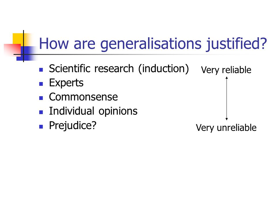 How are generalisations justified? Scientific research (induction) Experts Commonsense Individual opinions Prejudice? Very reliable Very unreliable
