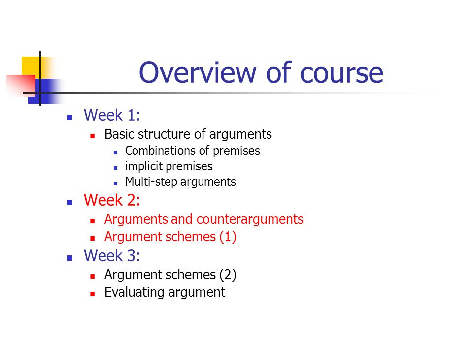 Overview of course Week 1: Basic structure of arguments Combinations of premises implicit premises Multi-step arguments Week 2: Arguments and countera