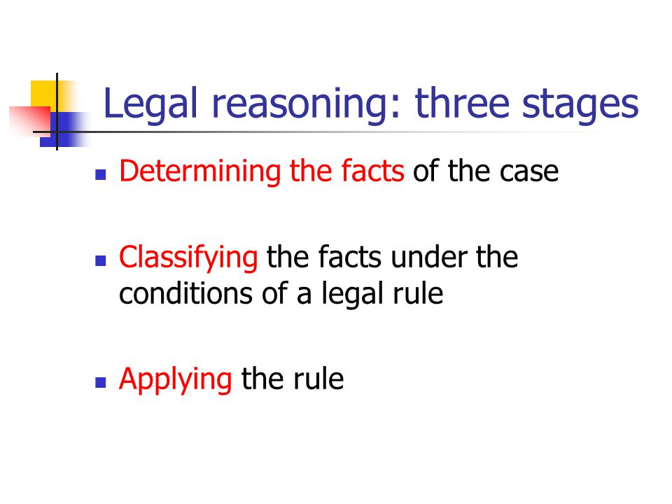 Legal reasoning: three stages Determining the facts of the case Classifying the facts under the conditions of a legal rule Applying the rule