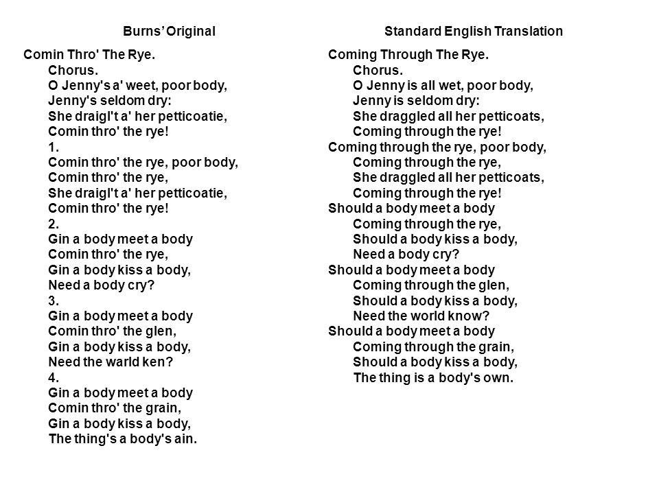 Burns' OriginalStandard English Translation Comin Thro The Rye.