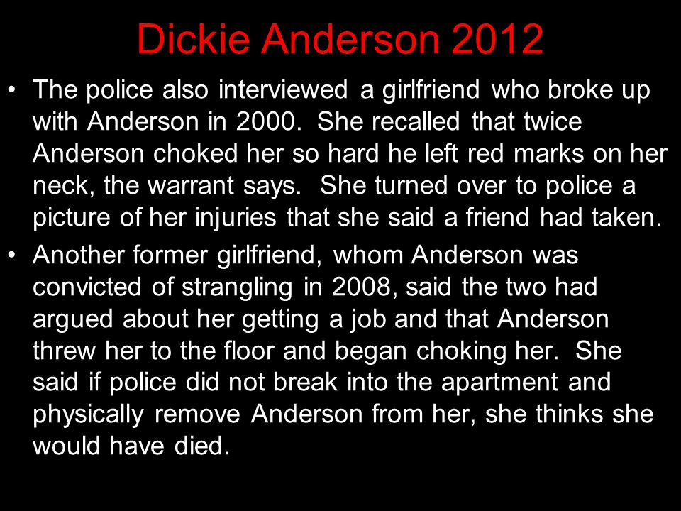 """Dickie Anderson 2012 One inmate reported that Anderson admitted to killing """"Renee"""" and said several times that he would have never done it if he had k"""