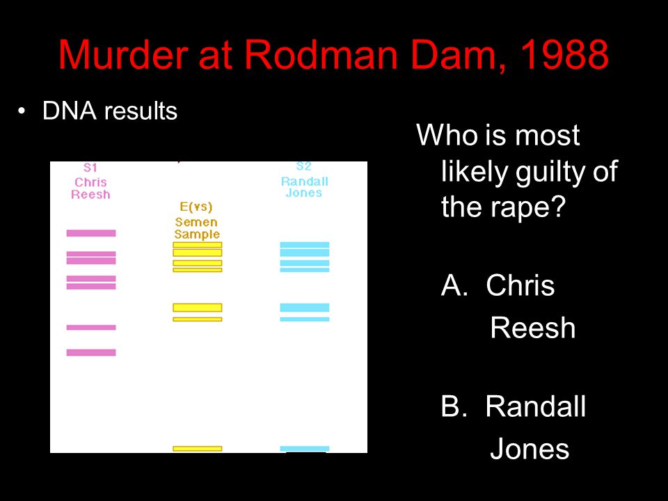 Murder at Rodman Dam, 1988 A semen sample E(vs) retrieved from Perry's body, and blood samples from Reesh, S1, and Jones, S2, were compared at a labor