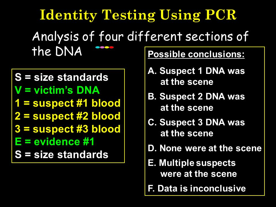 Available Kits for STR Analysis Kits make it easy for labs to just add DNA samples to a pre-made mix 13 CODIS core loci –Profiler Plus and COfiler (PE
