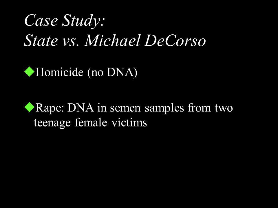 50 450 150 100 400 200 250 300 350 S V 1 2 3 E S A complete match! S = size standards V = victim's DNA 1 = suspect #1 blood 2 = suspect #2 blood 3 = s