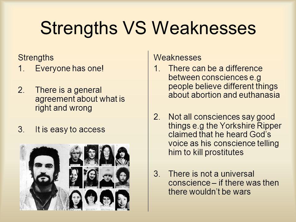 Strengths VS Weaknesses Strengths 1.Everyone has one.
