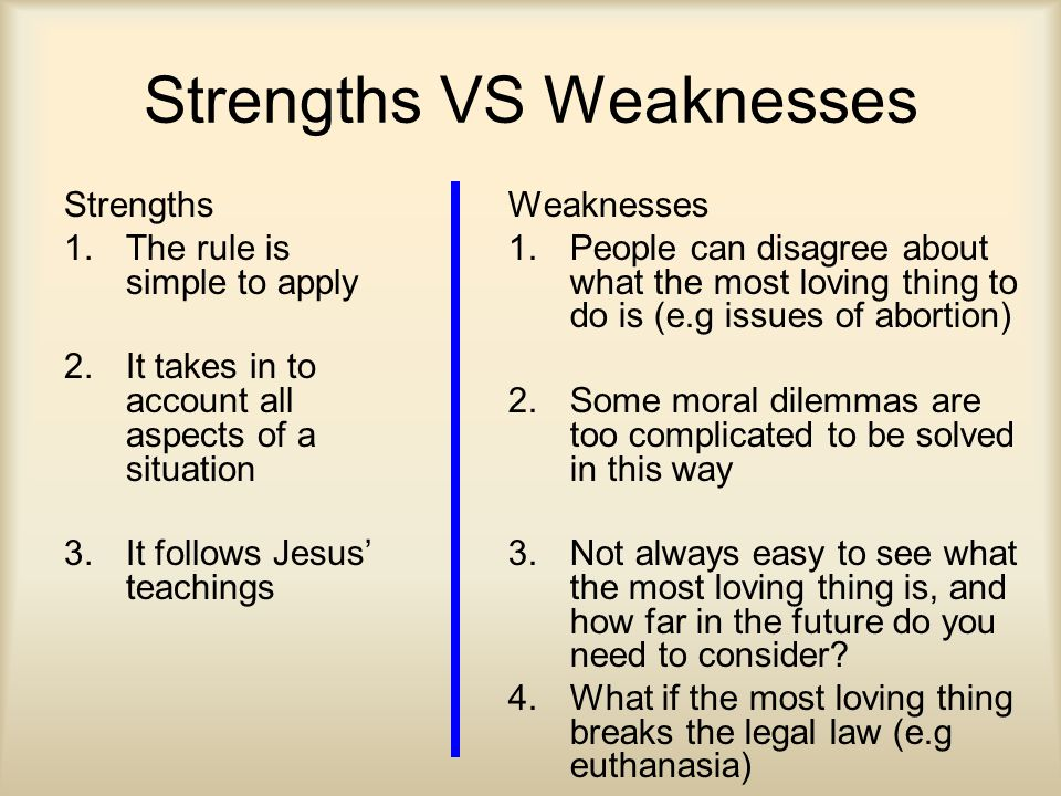 Strengths VS Weaknesses Strengths 1.The rule is simple to apply 2.It takes in to account all aspects of a situation 3.It follows Jesus' teachings Weaknesses 1.People can disagree about what the most loving thing to do is (e.g issues of abortion) 2.Some moral dilemmas are too complicated to be solved in this way 3.Not always easy to see what the most loving thing is, and how far in the future do you need to consider.