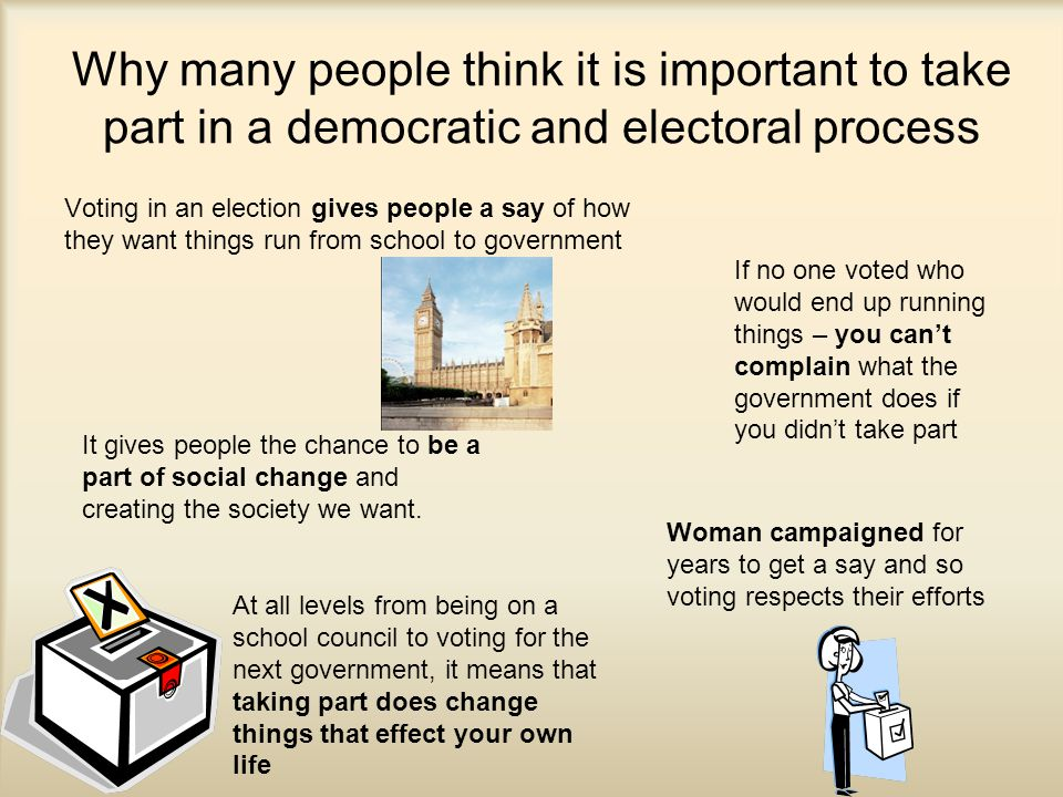 Why many people think it is important to take part in a democratic and electoral process Voting in an election gives people a say of how they want things run from school to government Woman campaigned for years to get a say and so voting respects their efforts It gives people the chance to be a part of social change and creating the society we want.