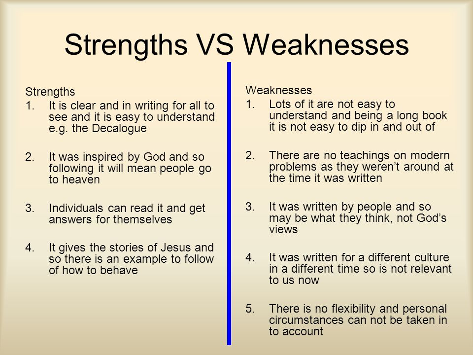 Strengths VS Weaknesses Strengths 1.It is clear and in writing for all to see and it is easy to understand e.g.