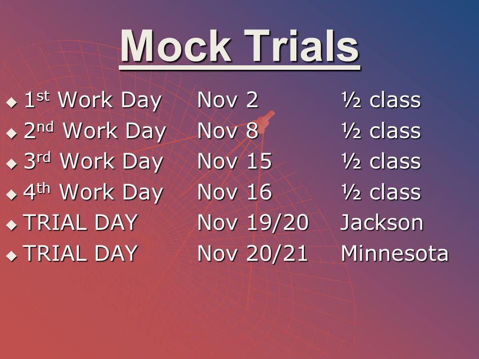 Mock Trials  1 st Work DayNov 2½ class  2 nd Work DayNov 8½ class  3 rd Work DayNov 15½ class  4 th Work DayNov 16½ class  TRIAL DAYNov 19/20Jack