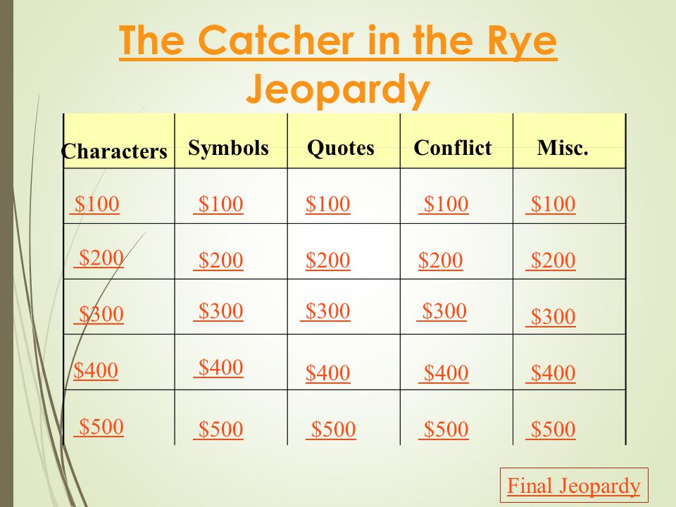 The Catcher in the Rye Jeopardy Characters SymbolsQuotesConflictMisc.