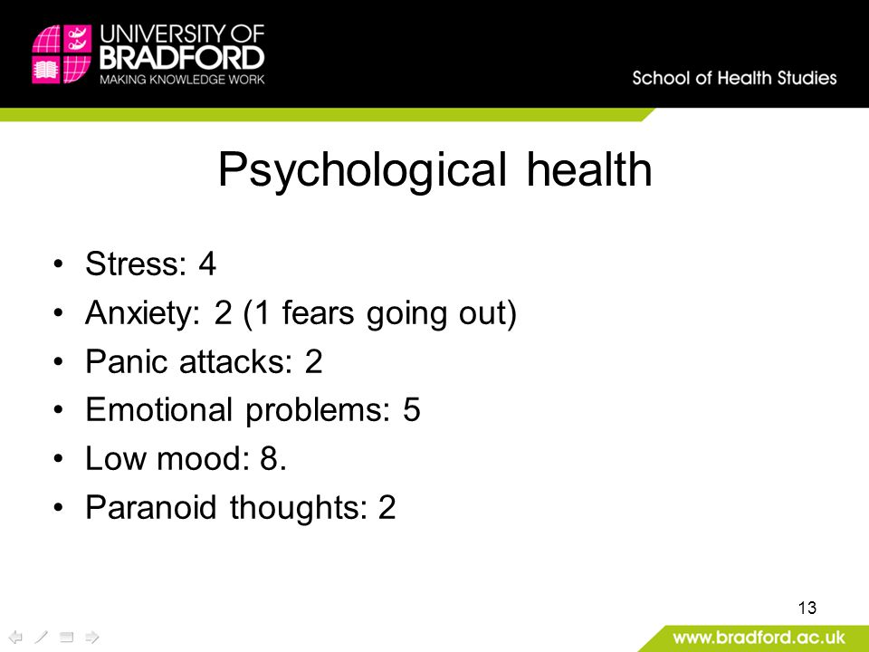13 Psychological health Stress: 4 Anxiety: 2 (1 fears going out) Panic attacks: 2 Emotional problems: 5 Low mood: 8.