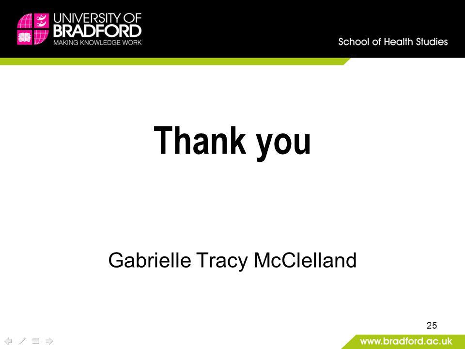 25 Thank you Gabrielle Tracy McClelland