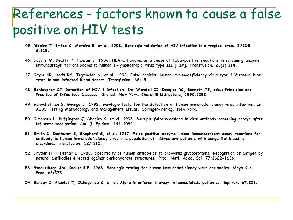 45. Ribeiro T, Brites C, Moreira E, et al. 1993. Serologic validation of HIV infection in a tropical area. JAIDS. 6:319. 46. Sayers M, Beatty P, Hanse