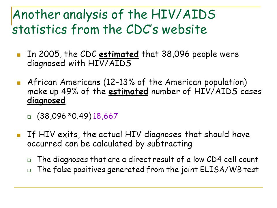 In 2005, the CDC estimated that 38,096 people were diagnosed with HIV/AIDS African Americans (12–13% of the American population) make up 49% of the estimated number of HIV/AIDS cases diagnosed  (38,096 *0.49) 18,667 If HIV exits, the actual HIV diagnoses that should have occurred can be calculated by subtracting  The diagnoses that are a direct result of a low CD4 cell count  The false positives generated from the joint ELISA/WB test Another analysis of the HIV/AIDS statistics from the CDC's website