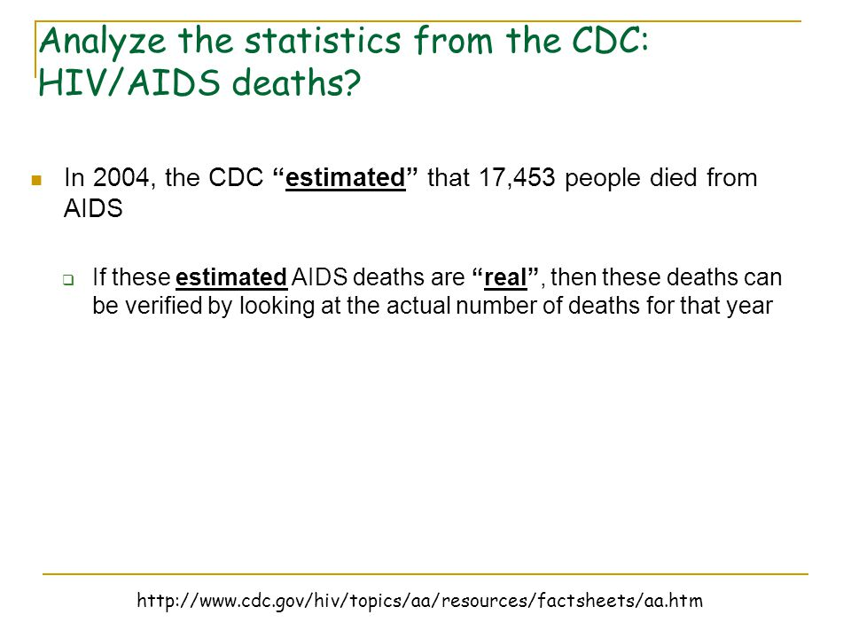 "In 2004, the CDC ""estimated"" that 17,453 people died from AIDS  If these estimated AIDS deaths are ""real"", then these deaths can be verified by looki"
