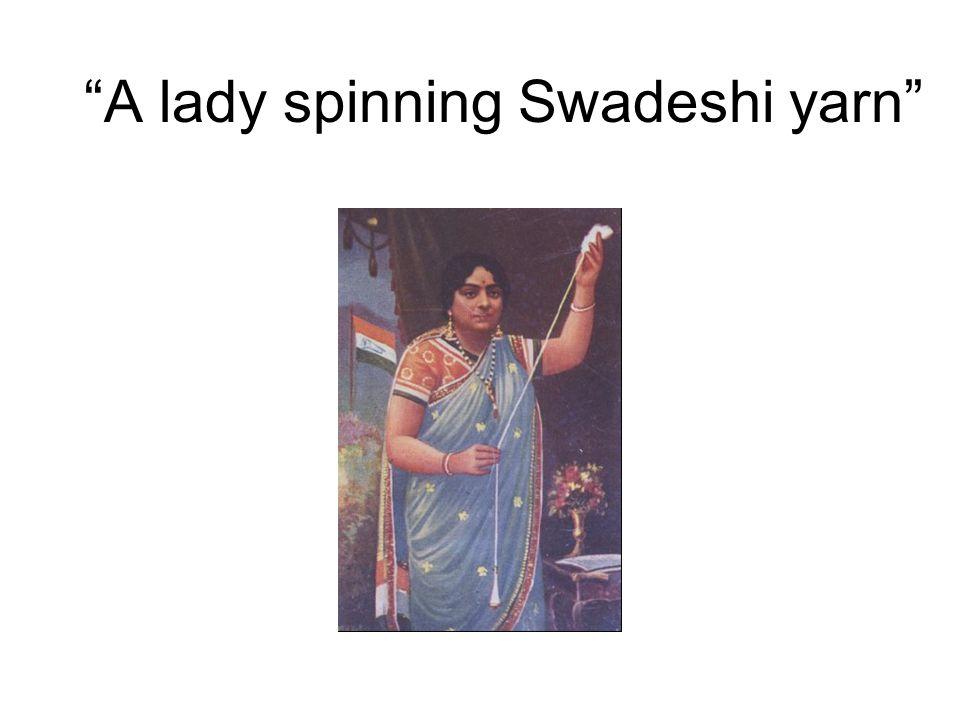 A lady spinning Swadeshi yarn