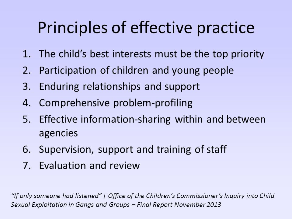 Principles of effective practice 1.The child's best interests must be the top priority 2.Participation of children and young people 3.Enduring relatio
