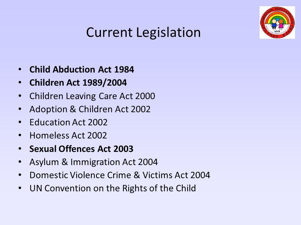 Current Legislation Child Abduction Act 1984 Children Act 1989/2004 Children Leaving Care Act 2000 Adoption & Children Act 2002 Education Act 2002 Hom